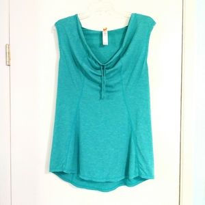 Lucy Activewear Green Cowl Neck Hooded Tank Top